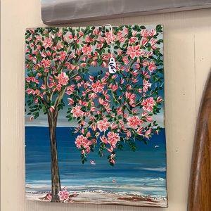 Woodstain art!! Beautiful tree with ocean!!
